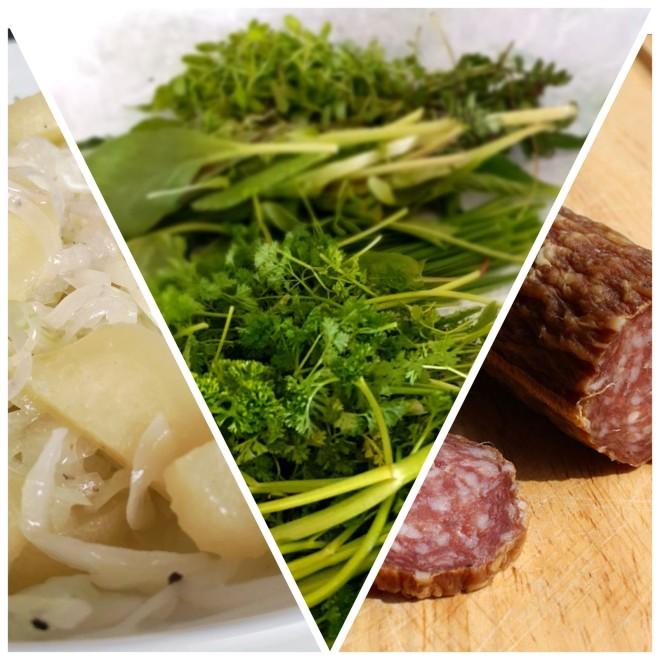 Eine Collage aus drei Bildern, welche die drei wichtigen hessischen Gerichte darstellen. Handkäse, Grüne Soße und Ahle Wurst.